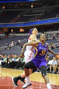 Los Angeles Sparks center Jantel Lavender secures her position for a rebound against Washington Mystics center Stefanie Dolson on June 23, 2015 at the Verizon Center. | Photo courtesy of Lamar Carter